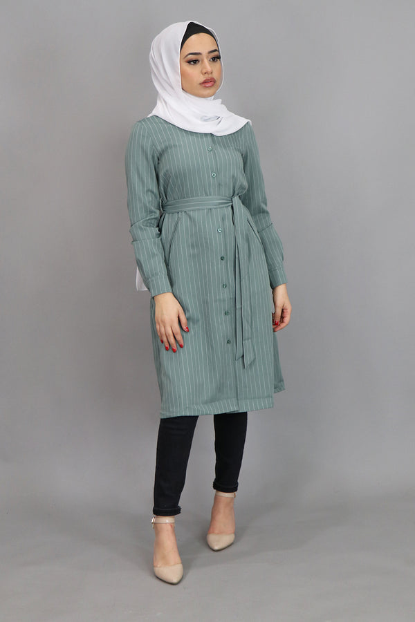 Mint Blue Striped Long Tunic (4547233579065)
