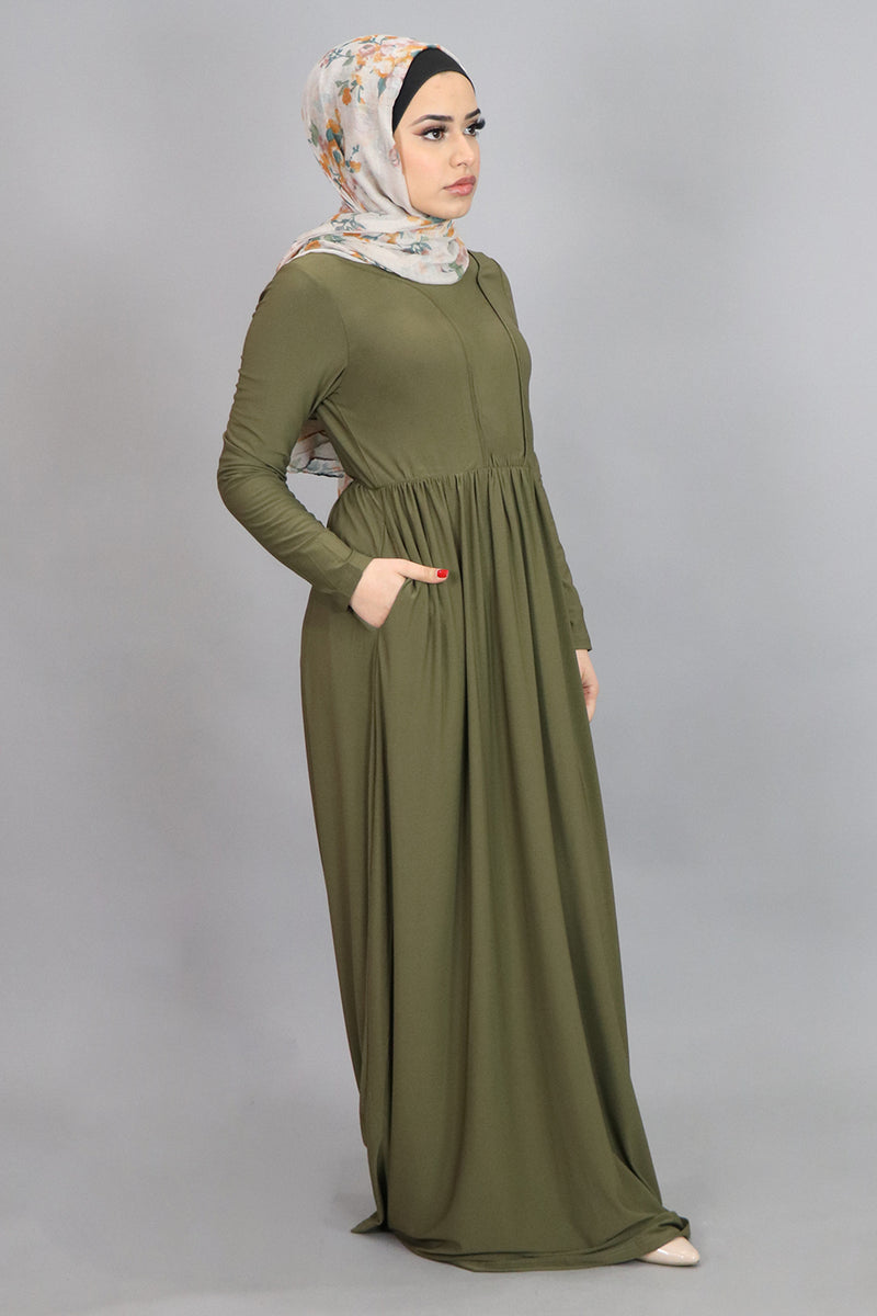 Olive Green Spandex Outline Maxi Dress (4542270963769)