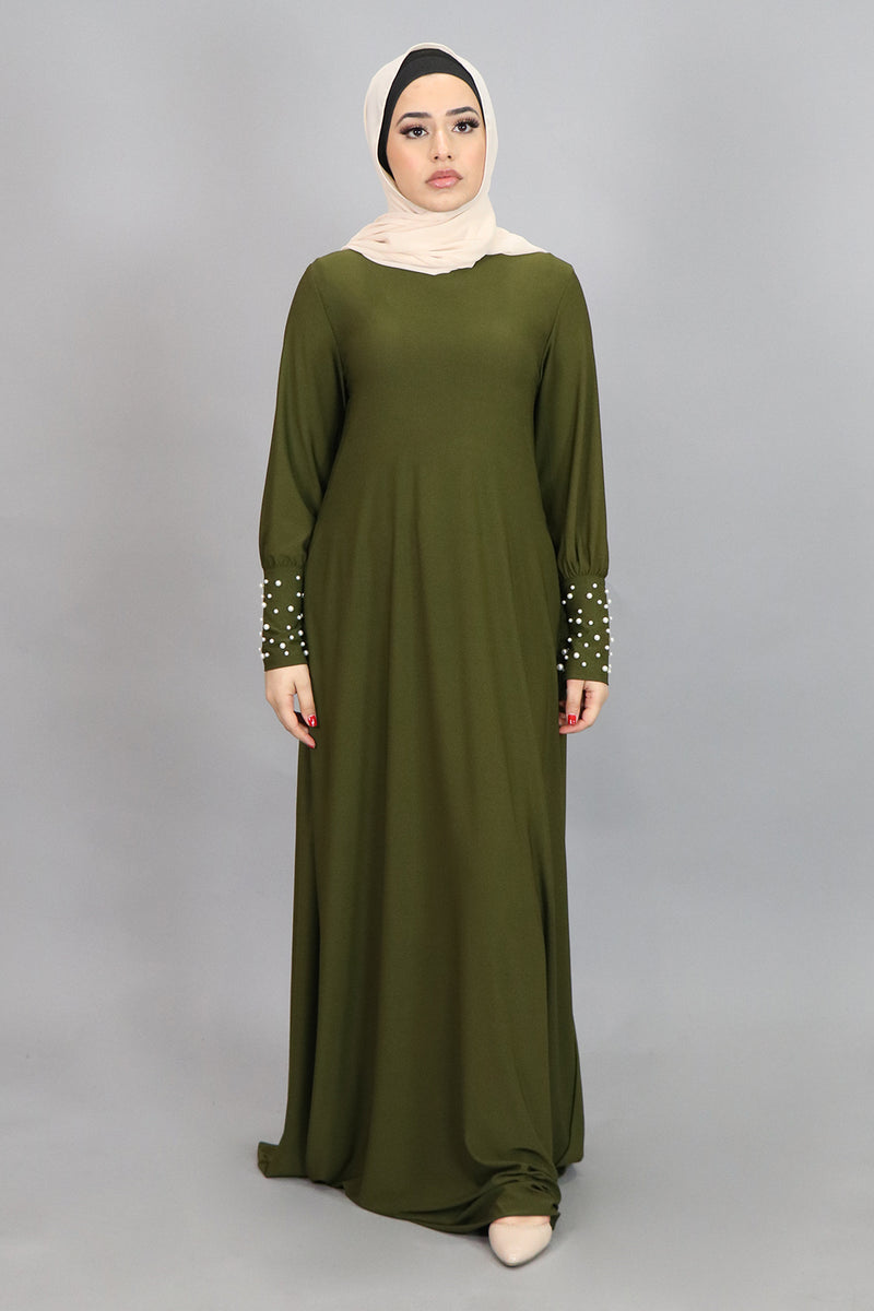 Light Olive Green Pearl Sleeve Spandex Maxi Dress (4549671190585)