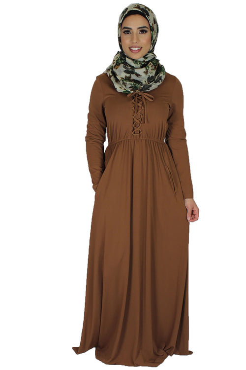 Fawn Brown Lace-up Spandex Maxi Dress