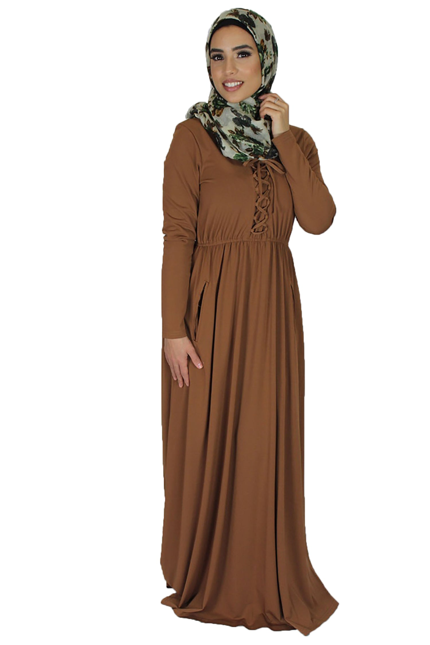 Fawn Brown Lace-up Spandex Maxi Dress (696675860537)