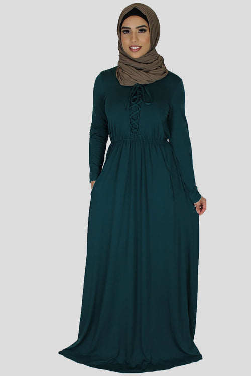 Dark Teal Lace-up Spandex Maxi Dress