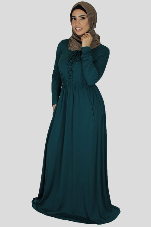 Dark Teal Lace-up Spandex Maxi Dress (696631820345)