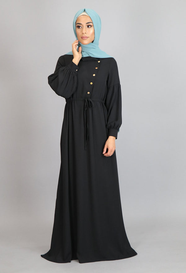 Black Soft Gold Button Maxi Dress (4644873470009)