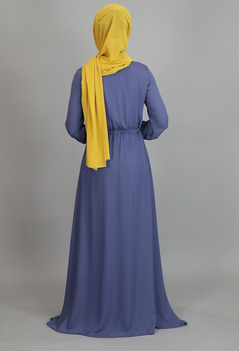 Blue Gray Pleated Chiffon Button Maxi Dress (2172933865529)