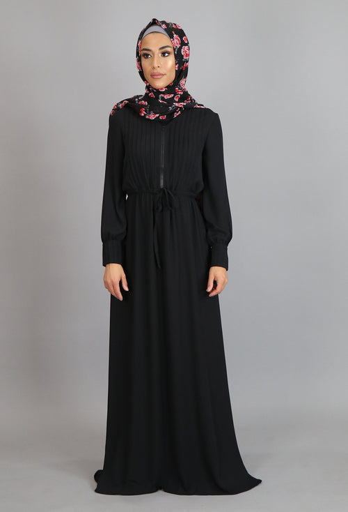 Black Pleated Chiffon Button Maxi Dress