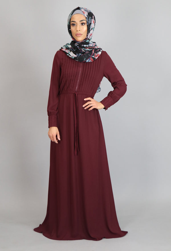 Mahogany Pleated Chiffon Button Maxi Dress (2172925214777)
