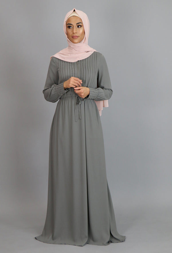 Dark Gray Pleated Chiffon Button Maxi Dress (2172929441849)