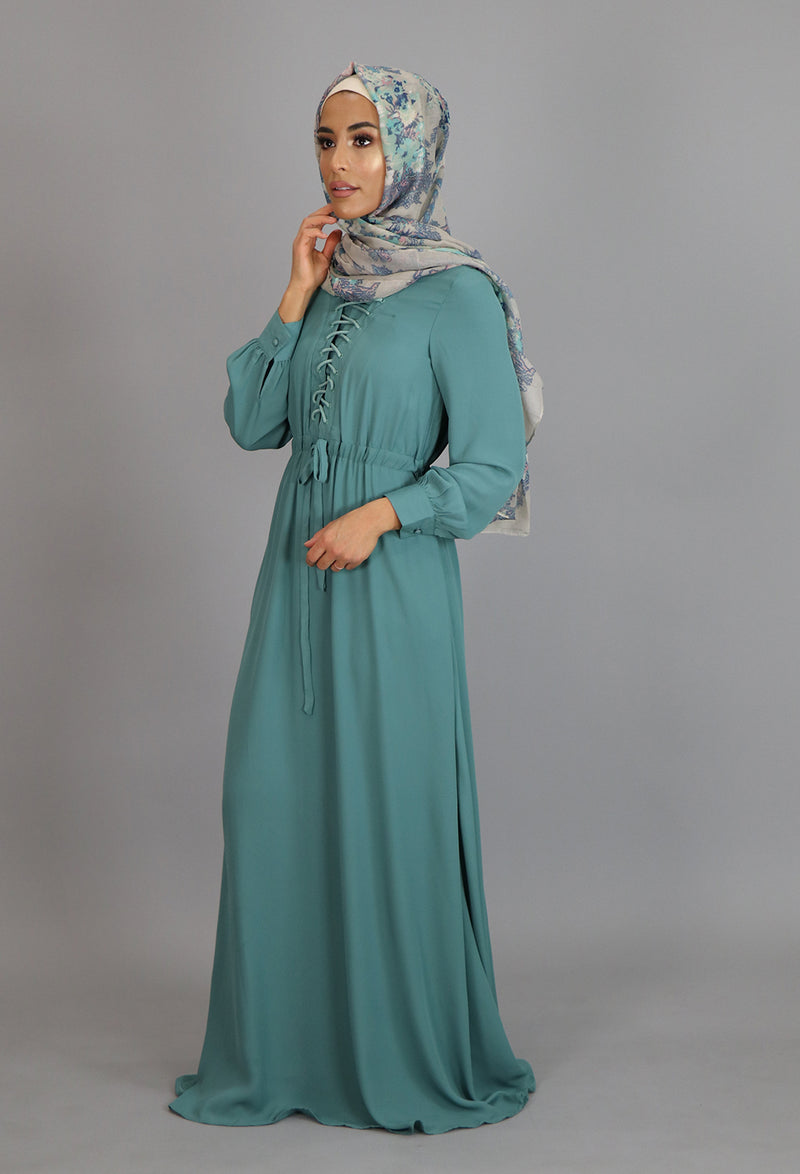 Mint Blue Lace-up Chiffon Maxi Dress (2173127589945)