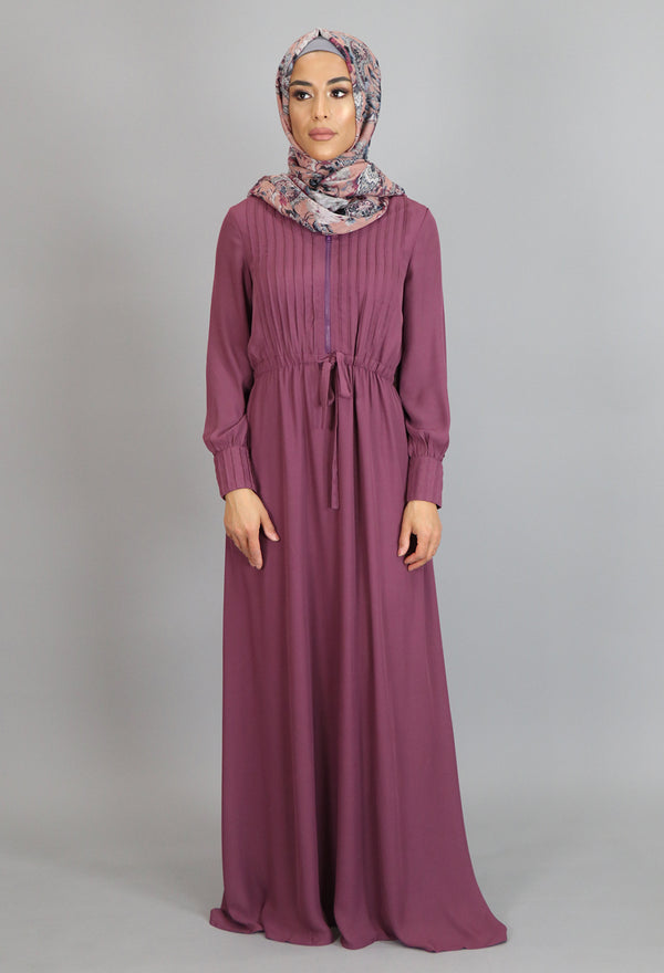 Mauve Pleated Chiffon Button Maxi Dress (2172926296121)