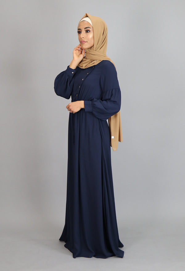 Navy Blue Chiffon Gold Button Maxi Dress (2172918923321)