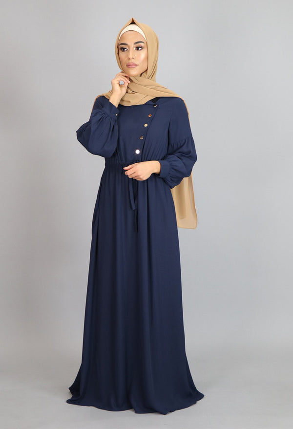 Navy Blue Soft Gold Button Maxi Dress (4644908793913)