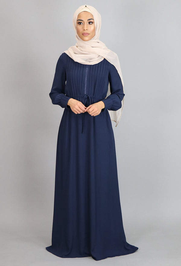 Navy Blue Pleated Chiffon Button Maxi Dress (2172925607993)