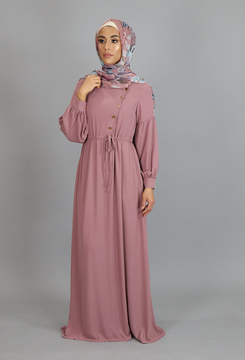 Rose Pink Chiffon Gold Button Maxi Dress (2172919513145)