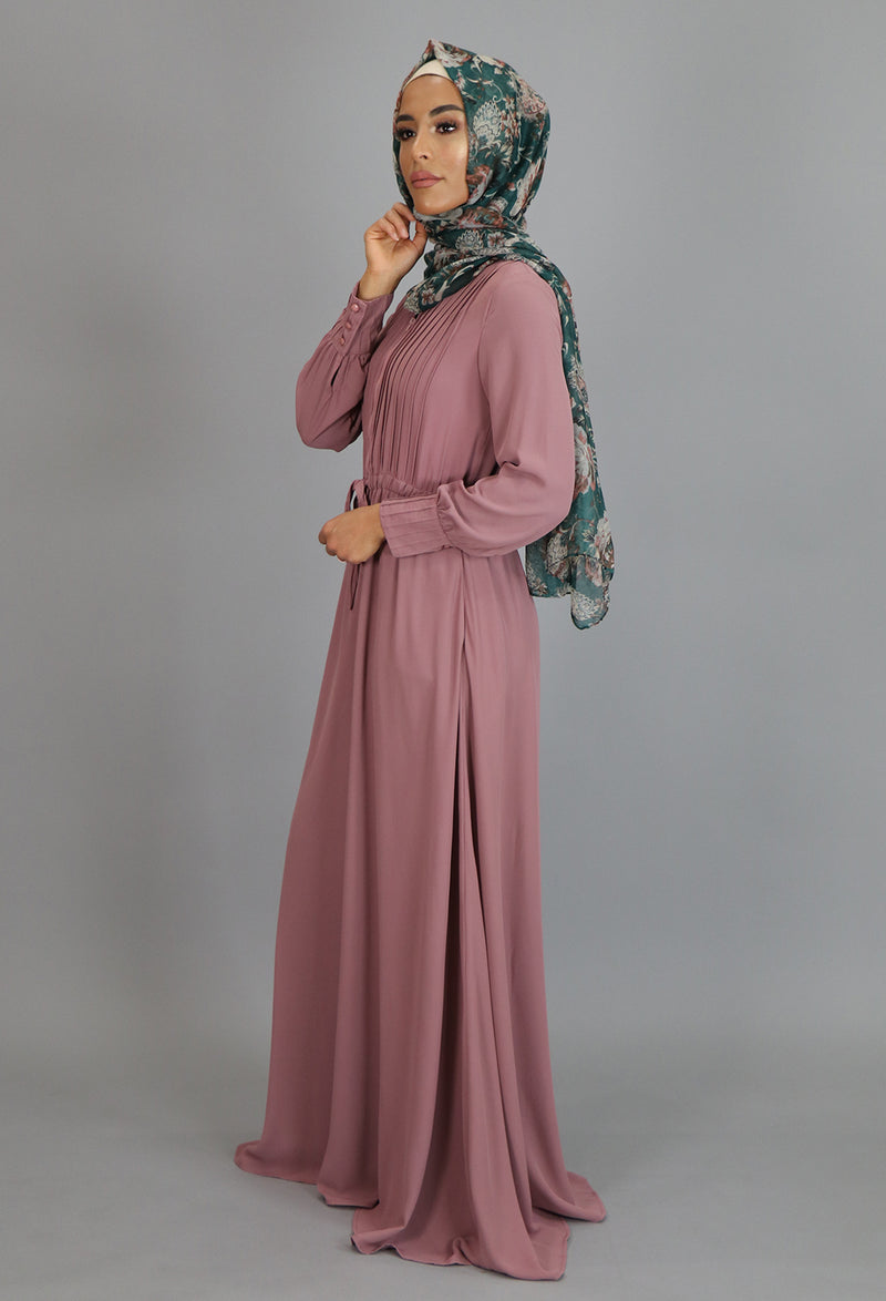 Rose Pink Pleated Chiffon Button Maxi Dress (2172925870137)