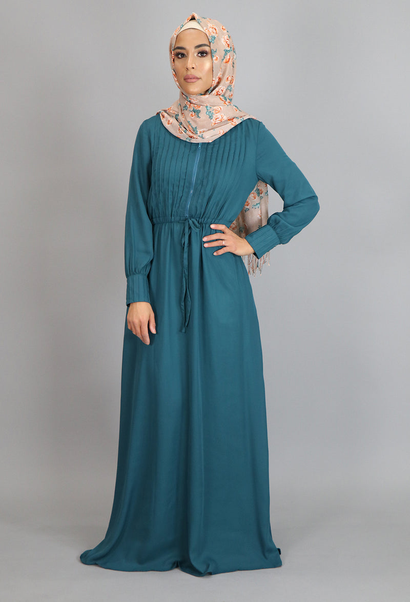 Teal Pleated Chiffon Button Maxi Dress (2172927541305)