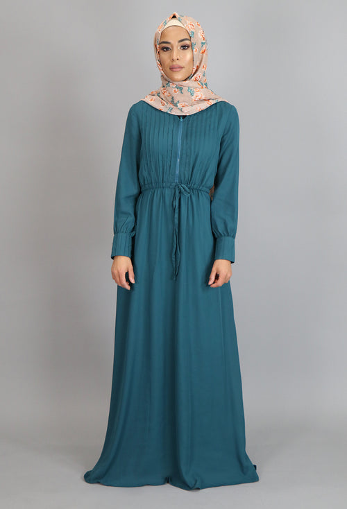 Teal Pleated Chiffon Button Maxi Dress