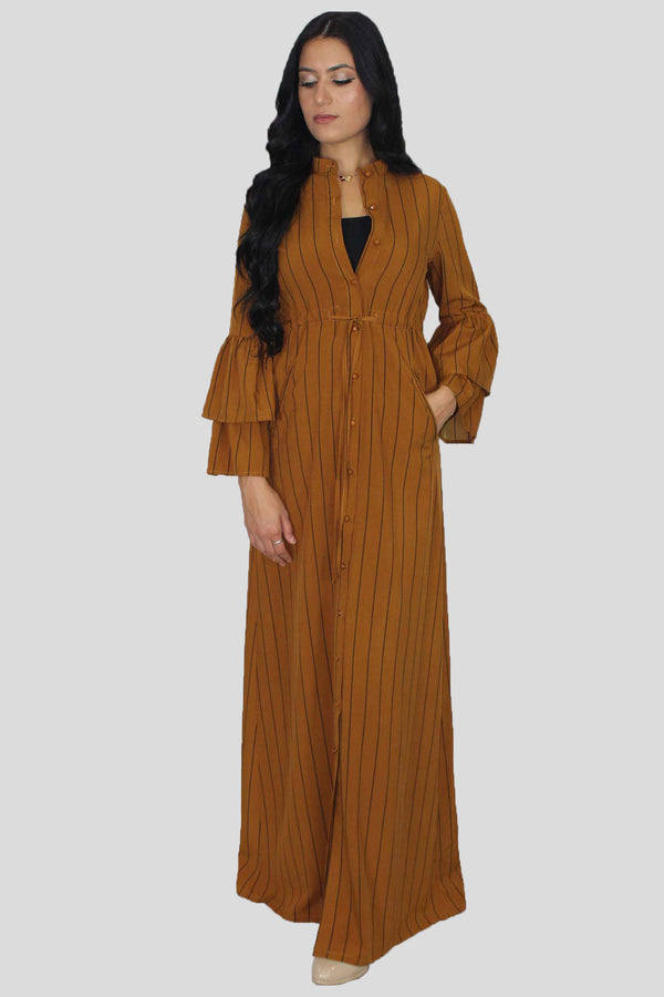 Burnt Orange Stripe Buttoned-Down Maxi Dress (1650268995641)