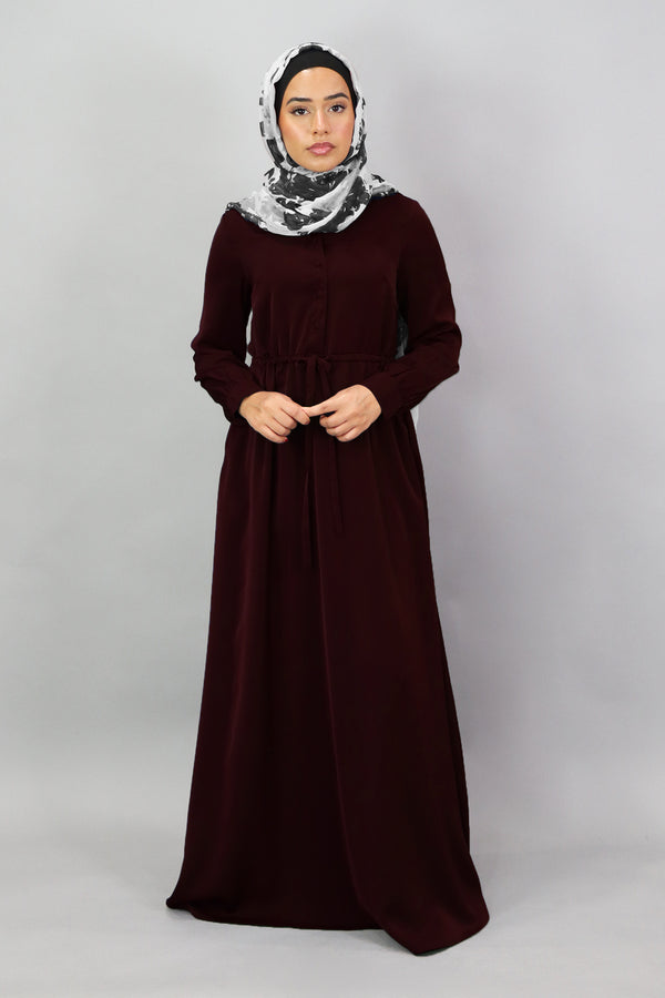 Dark Cherry Deluxe Soft Button Dress (5300404715688)