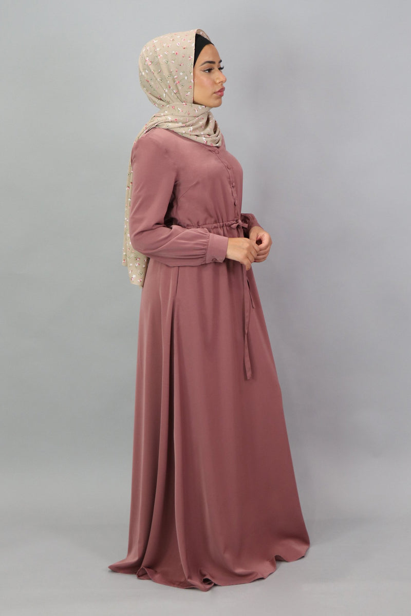 Nude Pink Deluxe Soft Button Dress (5300397572264)