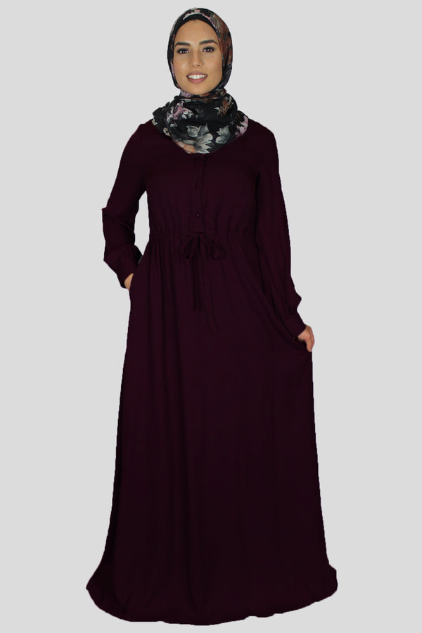 Mahogany Chiffon Button Maxi Dress (1529744425017)