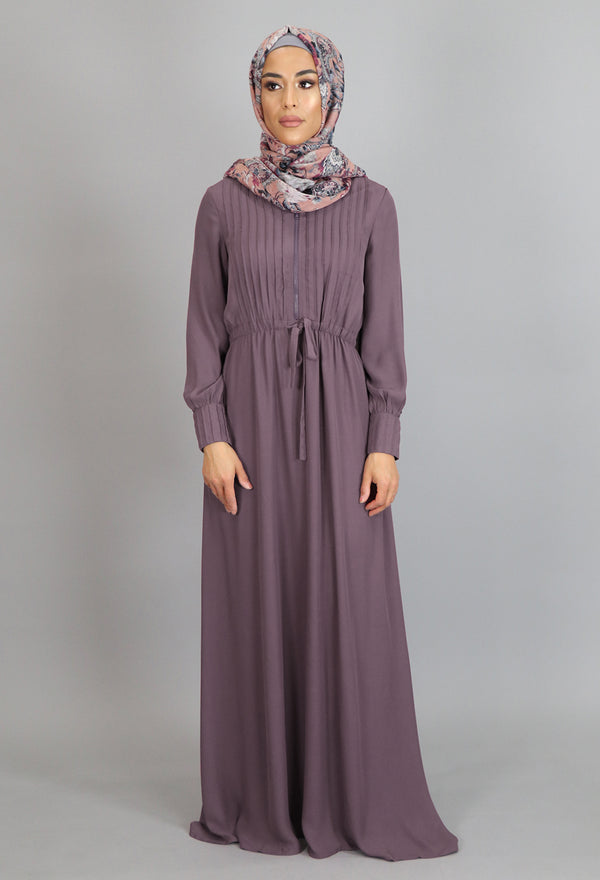 Dusty Lilac Pleated Chiffon Button Maxi Dress (2361269518393)