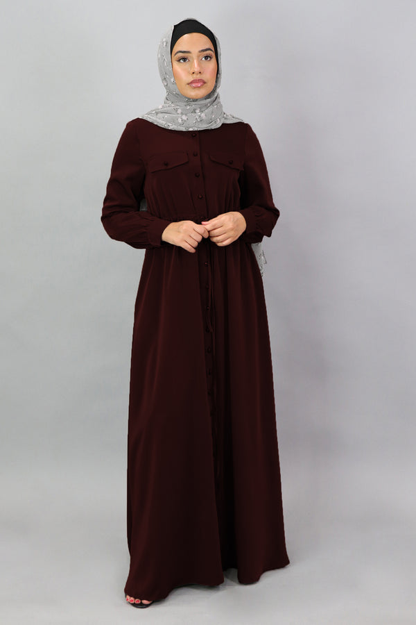 Dark Cherry Deluxe Soft Button Down Dress (5300591558824)