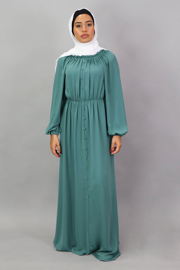 Mint Blue Deluxe Soft Chiffon Button Front Dress (5300943225000)
