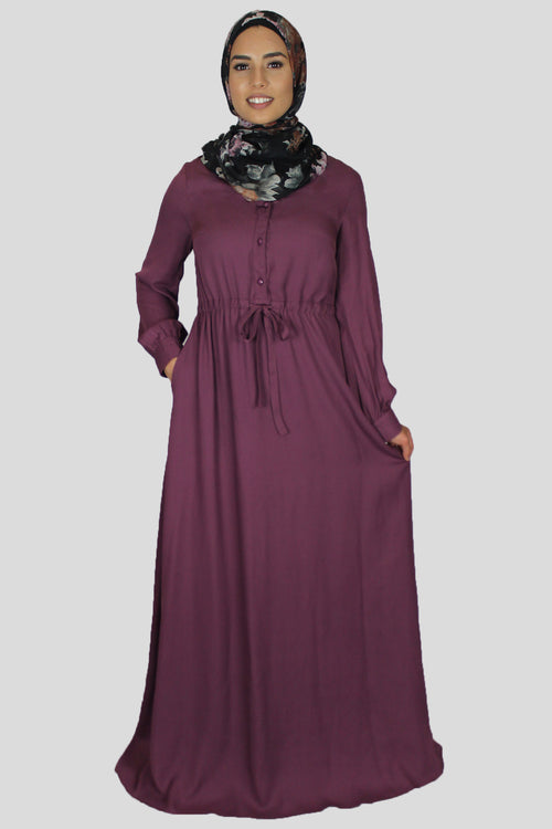 Mauve Chiffon Button Maxi Dress (1529509150777)