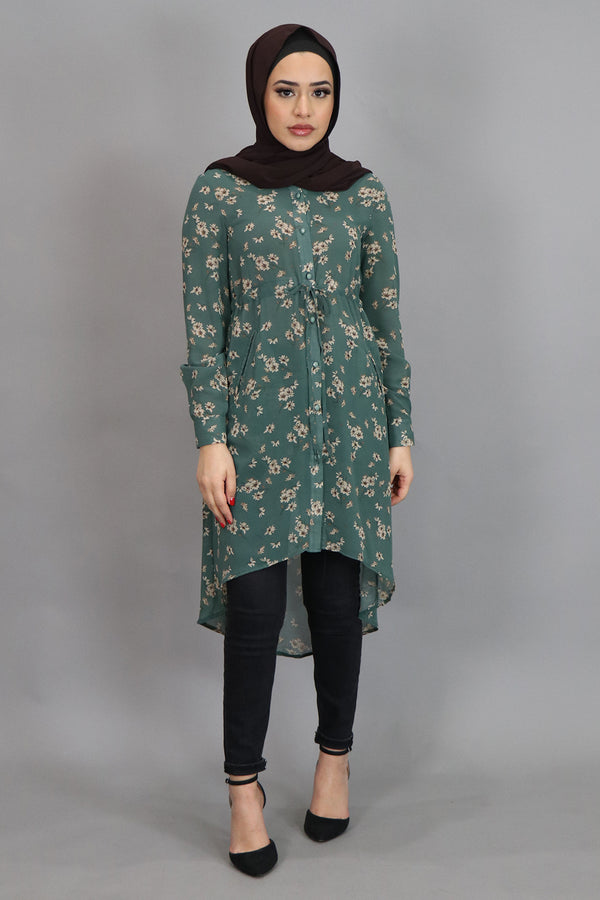 Mint Blue Floral Buttoned-Down Tunic (4537300582457)