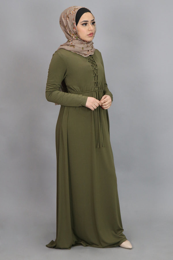 Olive Green Lace-up Spandex Maxi Dress (4554182328377)