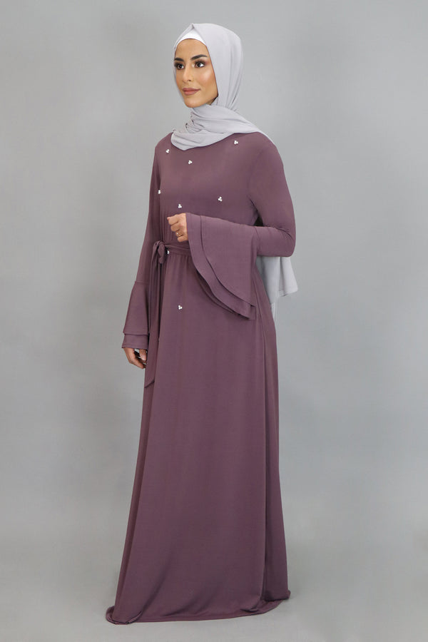 Mauve Double-Bell Pearls Spandex Maxi Dress (4549718769721)