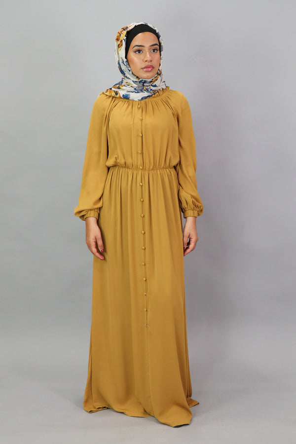 Mustard Deluxe Soft Chiffon Button Front Dress (5300970389672)