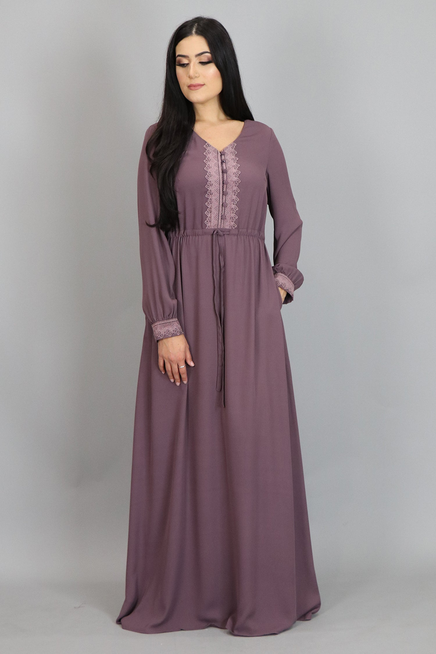 Dusty Lilac Lace Chiffon Button Maxi Dress (2479957147705)