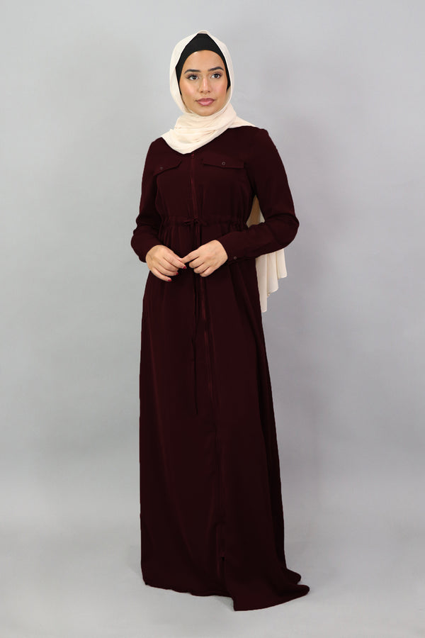 Dark Cherry Deluxe Soft Zipper-Down Maxi Dress (5257515139240)