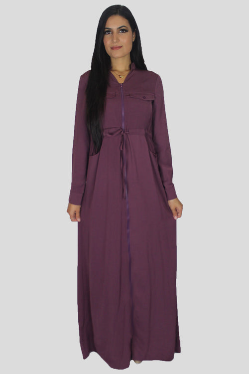 Mauve Zipper-Down Maxi Dress (1680335568953)