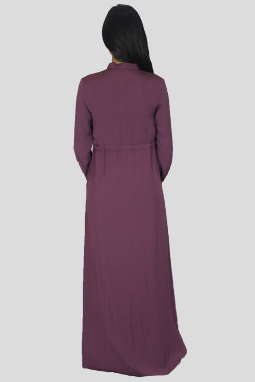 Mauve Zipper-Down Maxi Dress