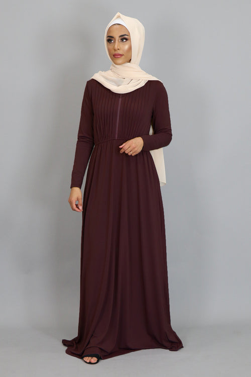 Maroon Pleated Spandex Maxi Dress