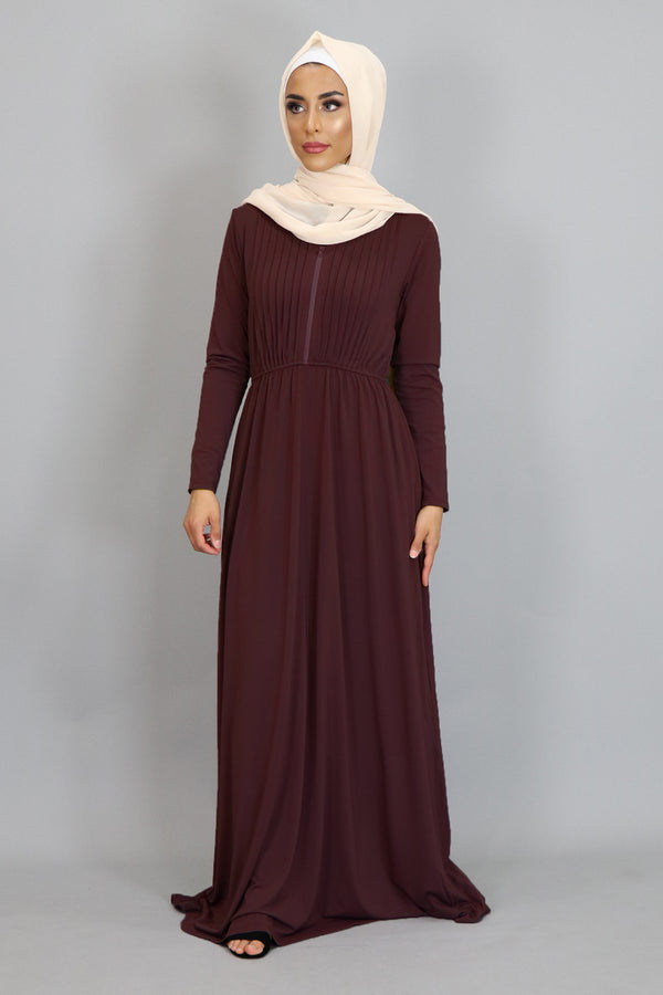 Maroon Pleated Spandex Maxi Dress (2452677656633)