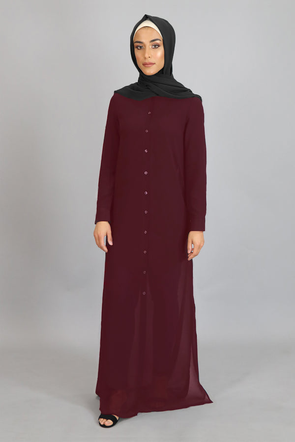 Mahogany Chiffon Hooded Abaya Buttoned-Down Cardigan Dress (2455273668665)