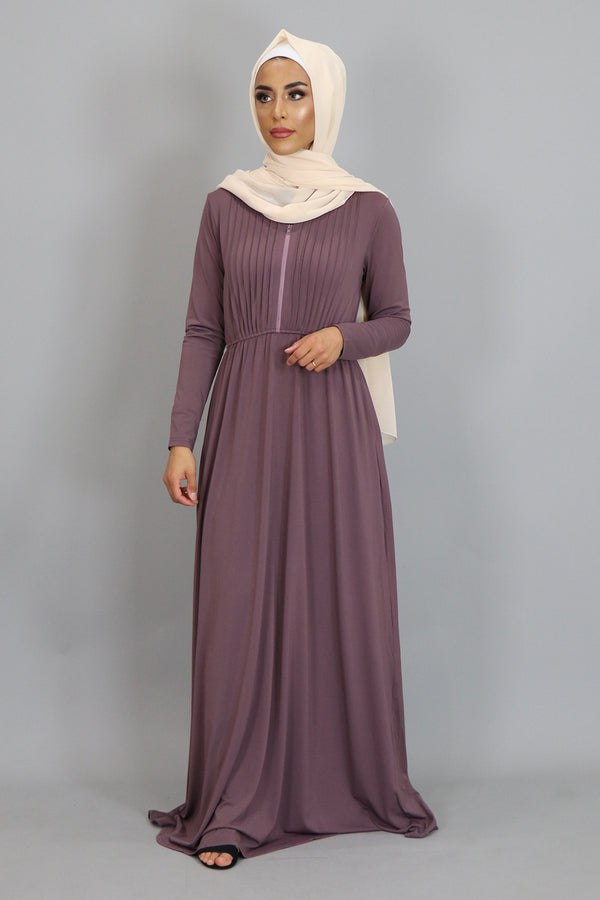 Mauve Pleated Spandex Maxi Dress (2452672610361)