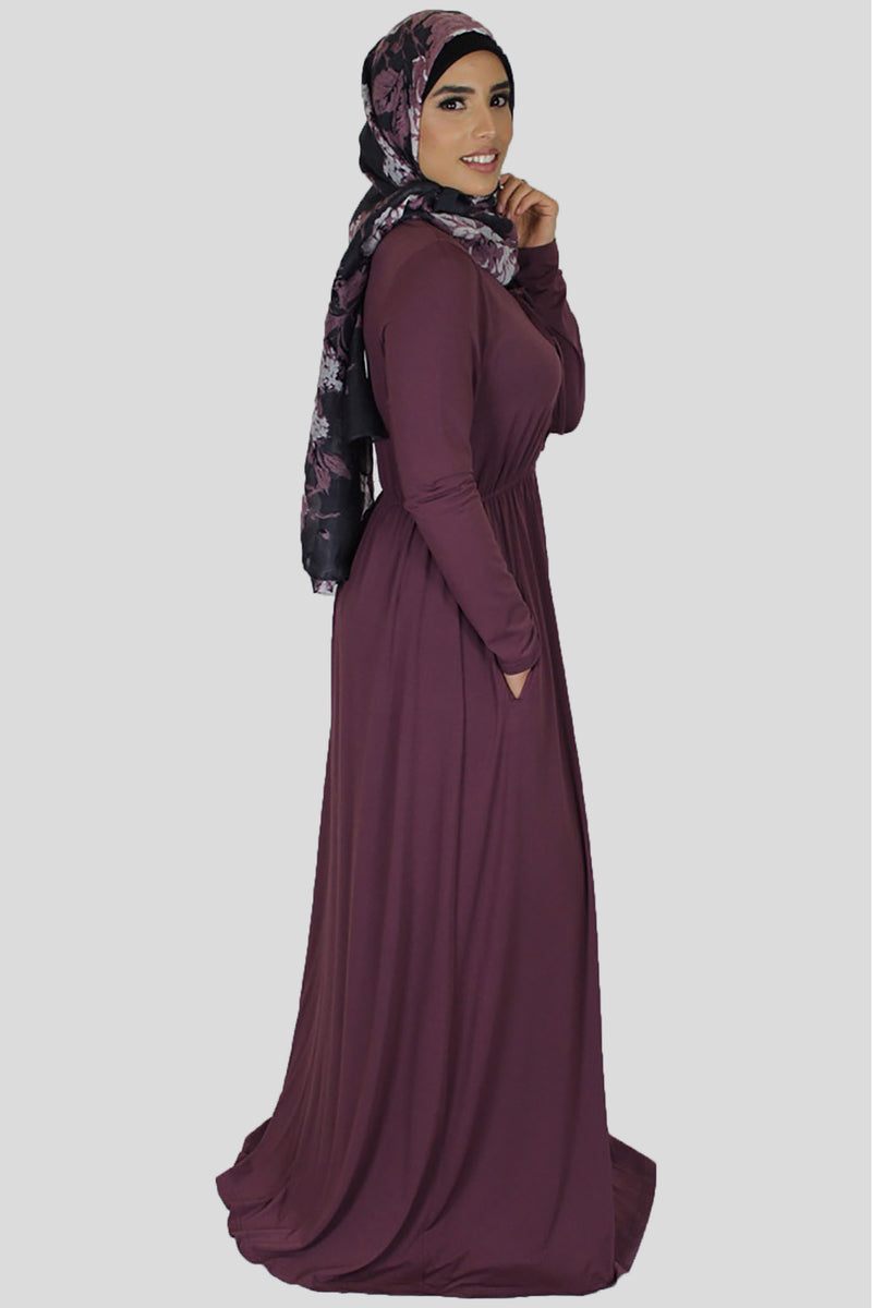 Mauve Lace-up Spandex Maxi Dress (696612716601)