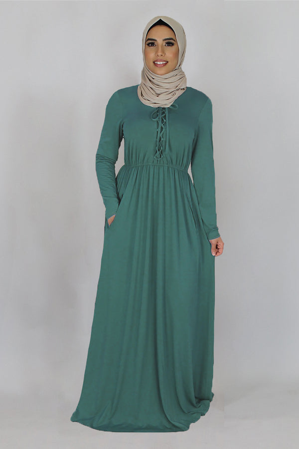 Mint blue Lace-up Spandex Maxi Dress (2411860852793)