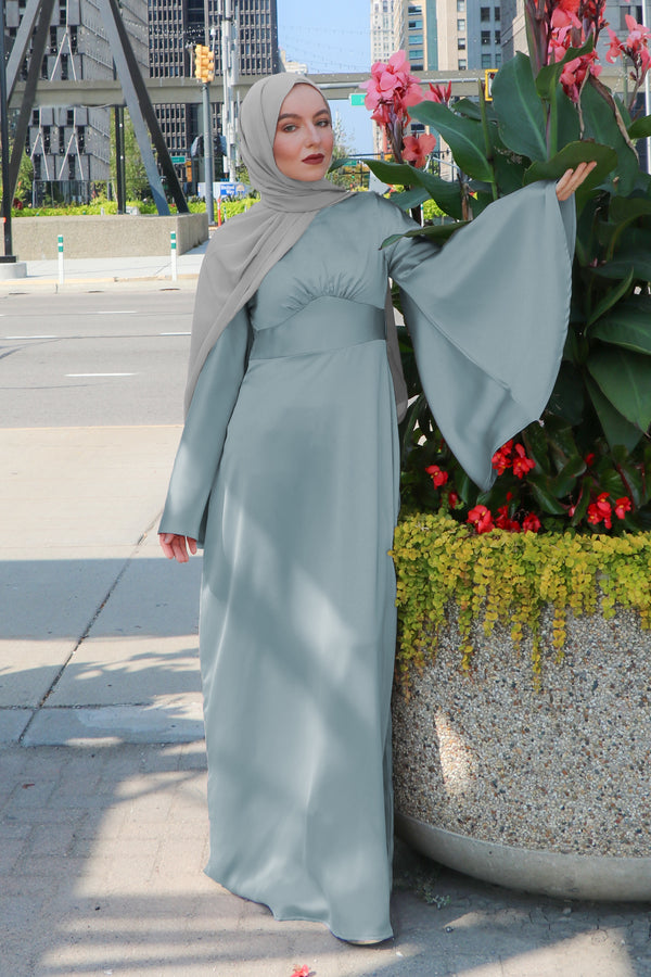 LaMeera Drape Sleeves Satin Dress - Mint Gray