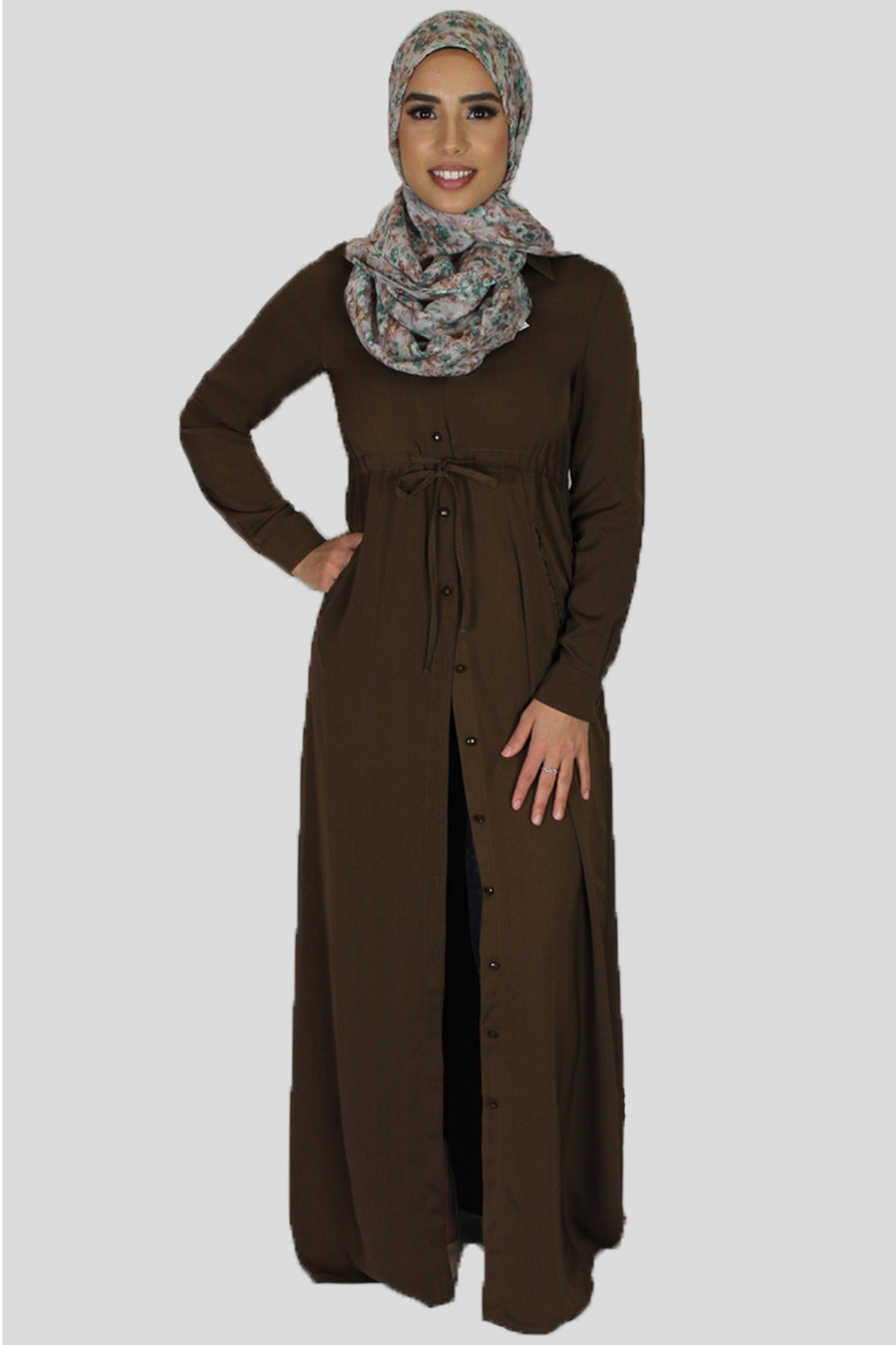 up-to-datestyling wholesale sales official price Mocha Brown Buttoned-Down Maxi Dress
