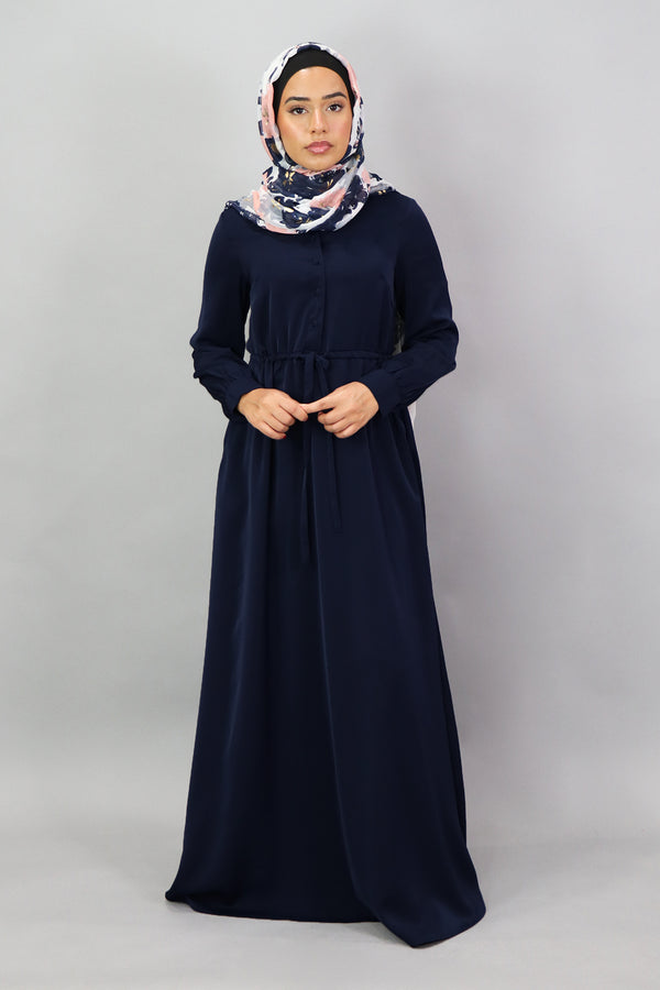 Midnight Blue Deluxe Soft Button Dress (5300287766696)