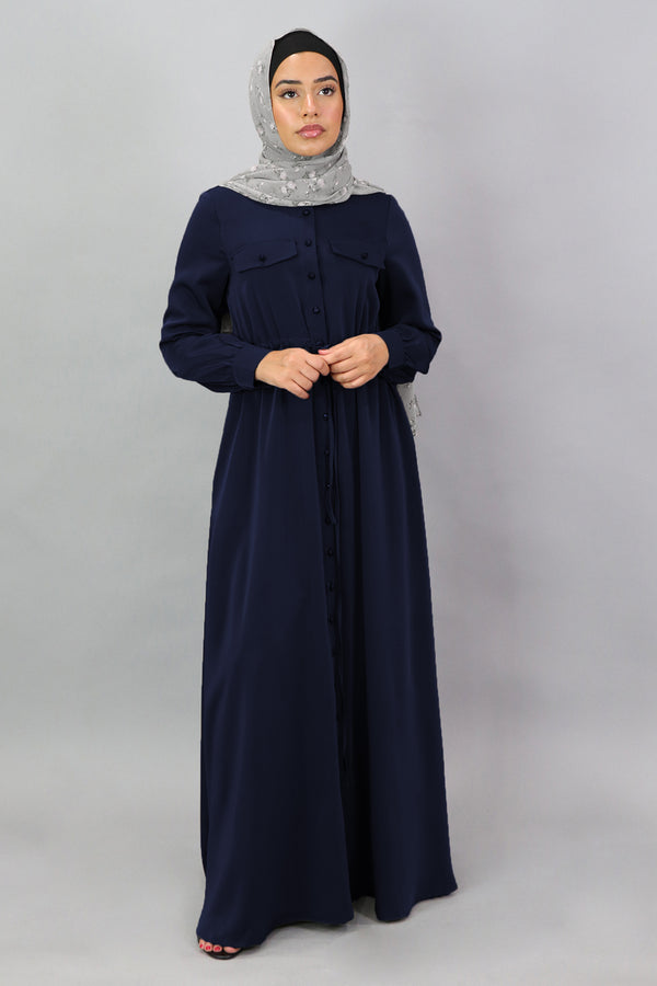 Midnight Blue Deluxe Soft Button Down Dress (5300514455720)
