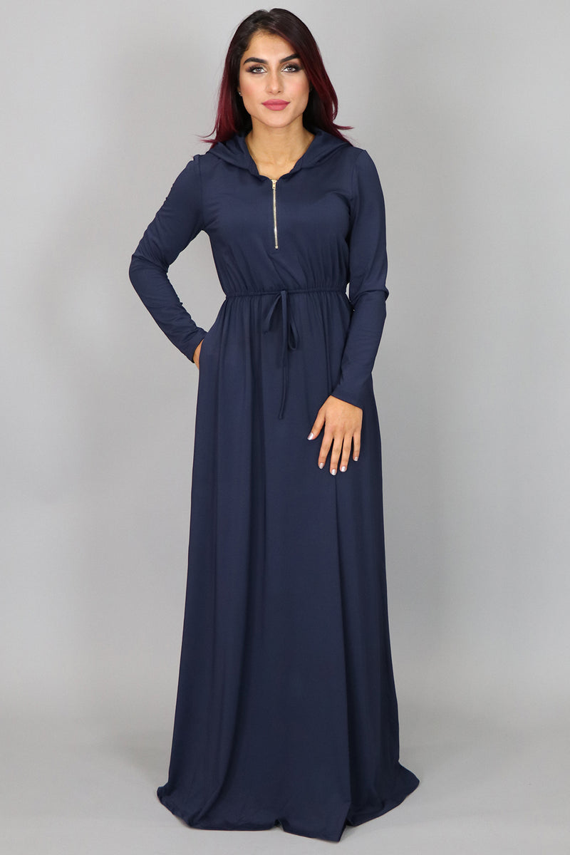 Navy Blue Alexa Zipper Maxi Dress (2097529028665)