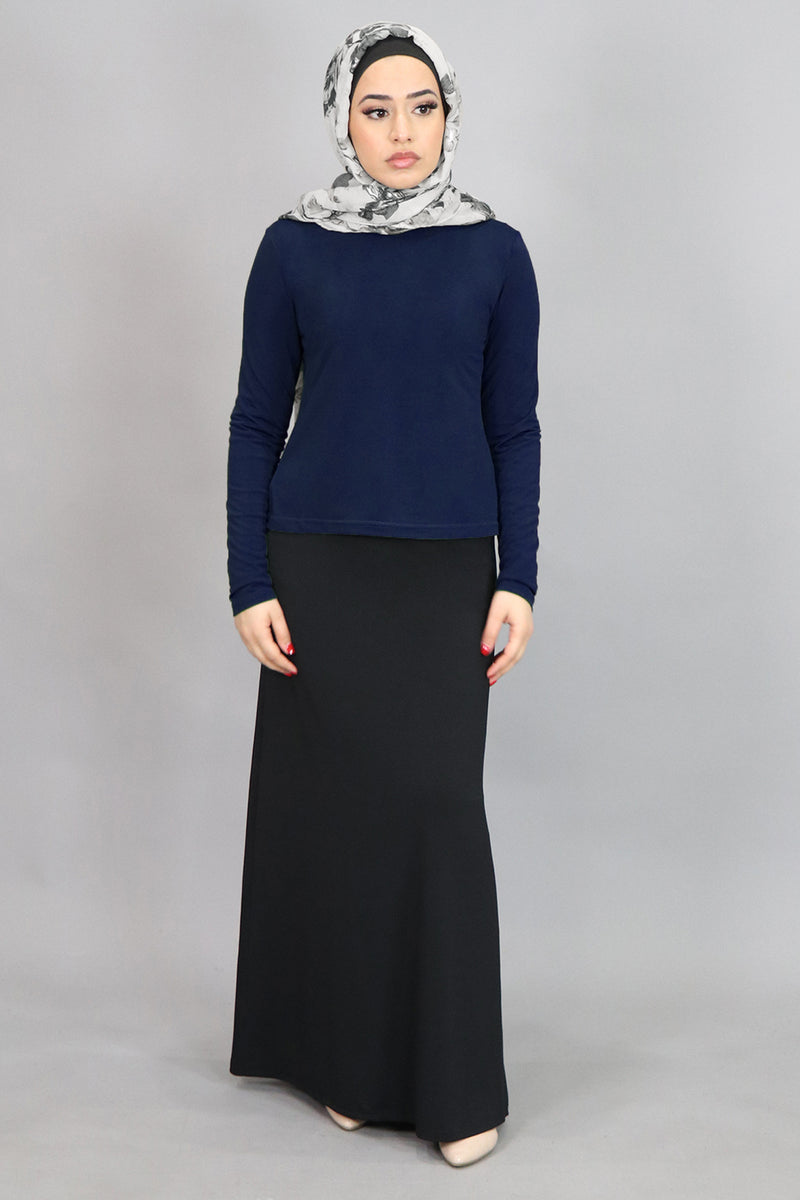 Navy Blue Long Sleeve Top (4549412323385)