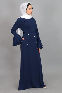 Navy Blue Double-Bell Pearls Spandex Maxi Dress (4549712937017)